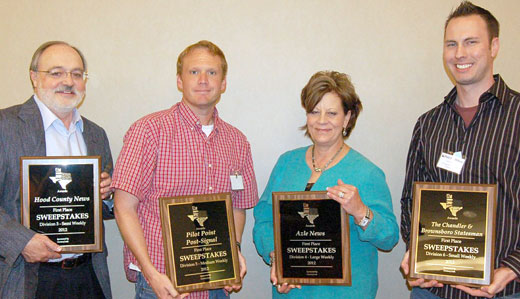 2013 Sweepstakes winners (left to right) Jerry Tidwell, Richard Greene, Cher Thompson, and Chad Wilson
